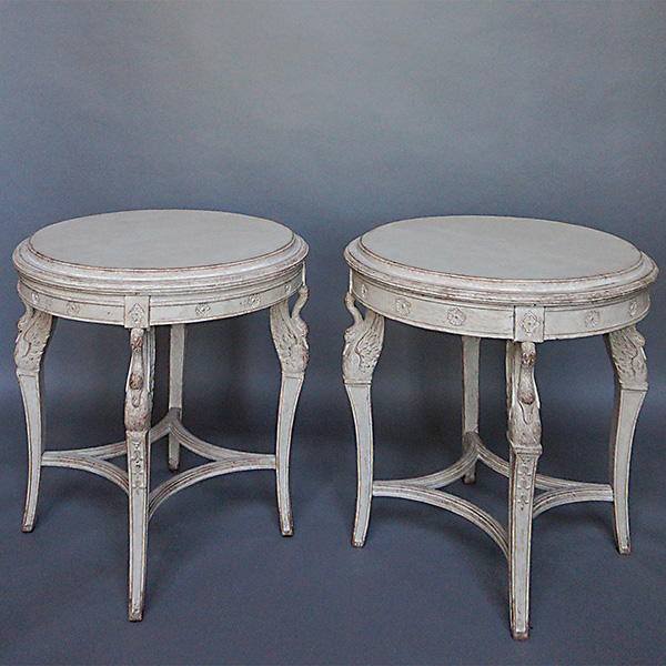 Pair of side tables with carved swans cupboards roses for Table 52 2016