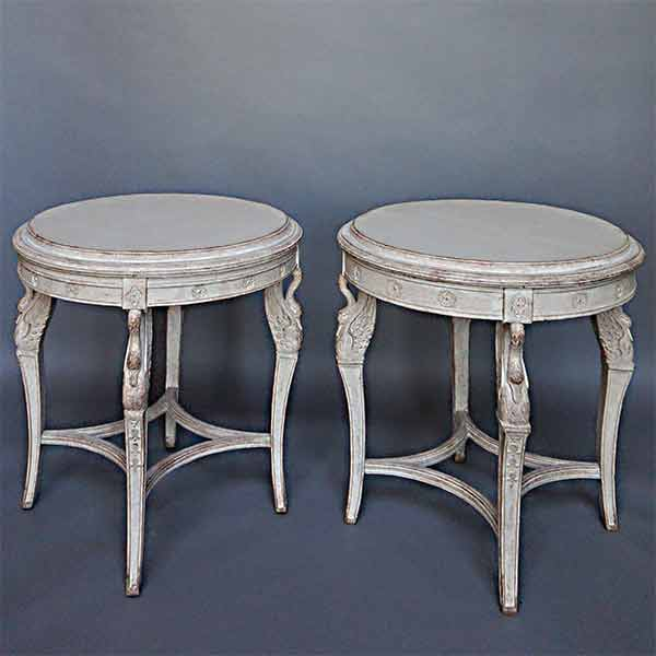 Pair Of Round Swedish Side Tables, Circa 1910, In The French Empire Style,