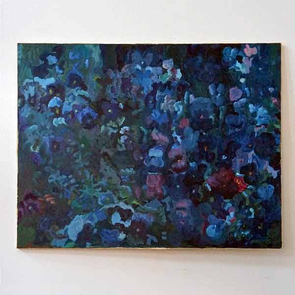 Study in blue of pansies, Oil on canvas 1993, by Ursula Roos