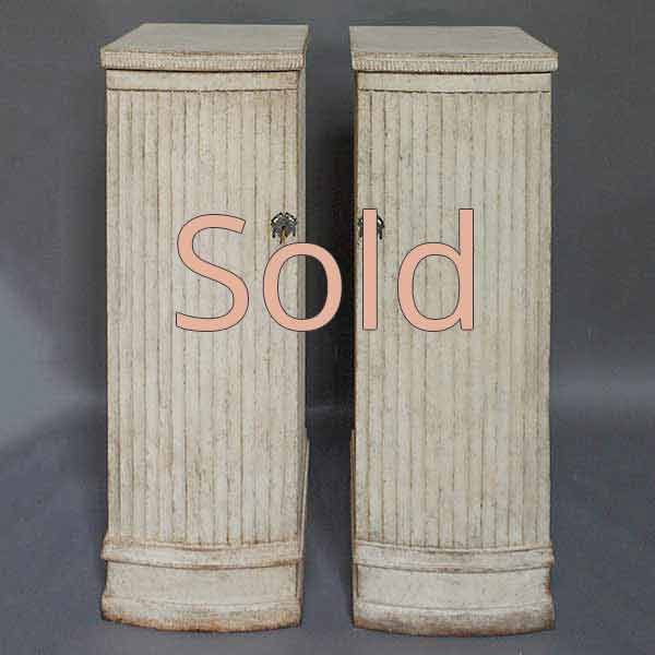 Pair of Late Gustavian Style Column Cabinets
