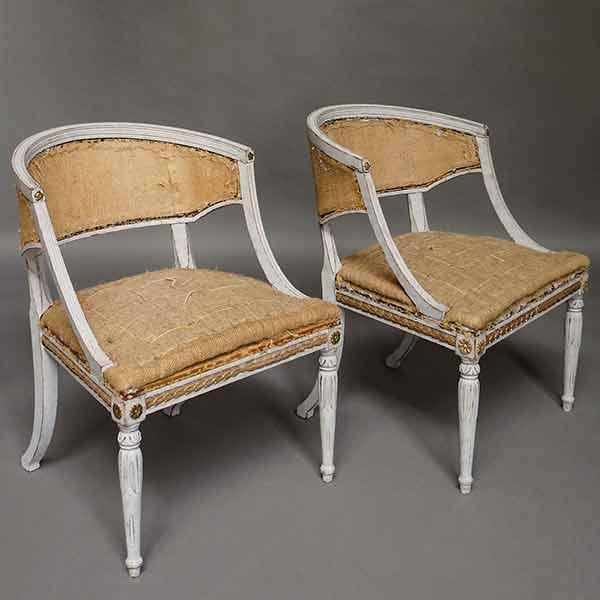 Pair of antique Swedish barrel back klismos armchairs