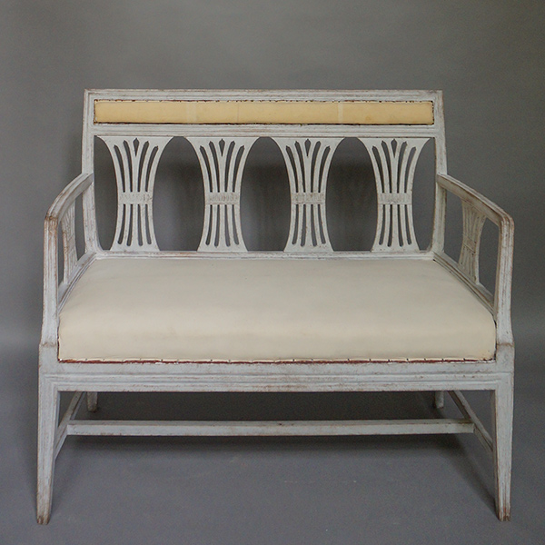 Neoclassical Sofa Bench With Wheat Sheaf Back