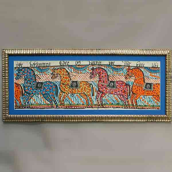 Swedish folk art painting with 4 horses, c 1820