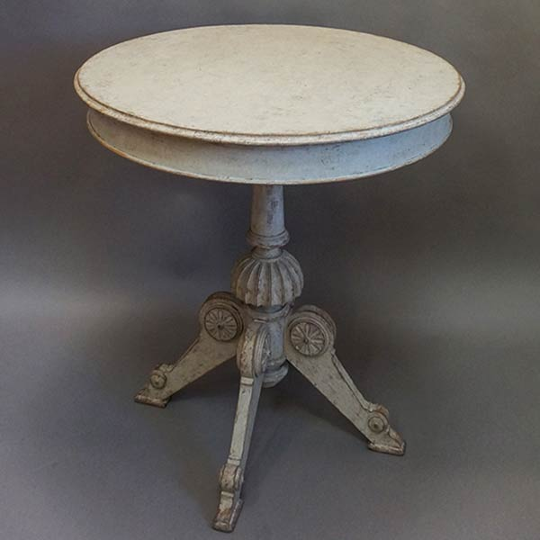 Antique Swedish Center Table with Carved Pedestal