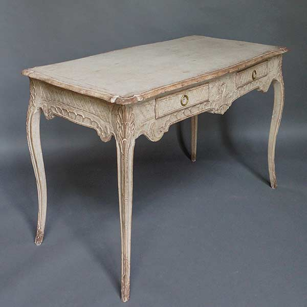 Beautifully carved writing table in the rococo style, Sweden circa 1850