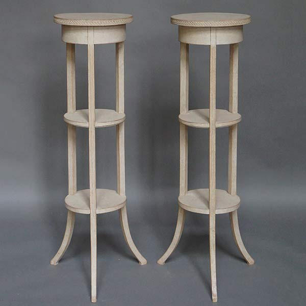 Pair of round Gustavian style fern stands in white paint