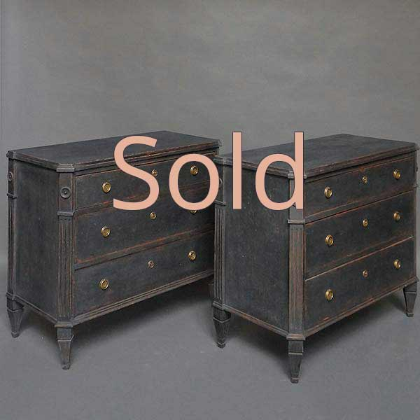 Pair of Black Painted Swedish Chests of Drawers