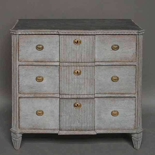 Gustavian style antique gray commode.