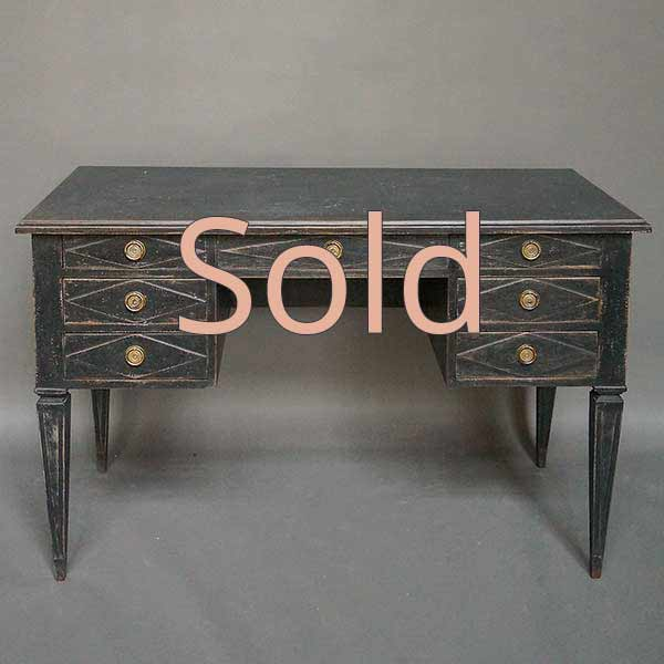 Neoclassical Kneehole Writing Desk in Black Paint
