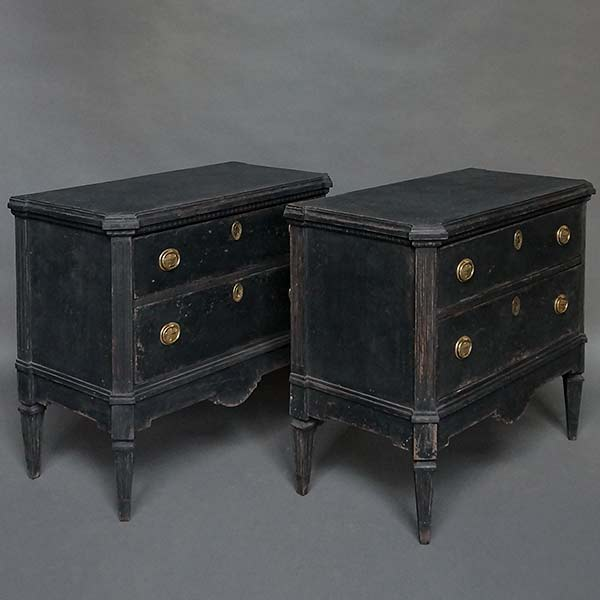 Pair of antique Gustavian style commodes in black paint