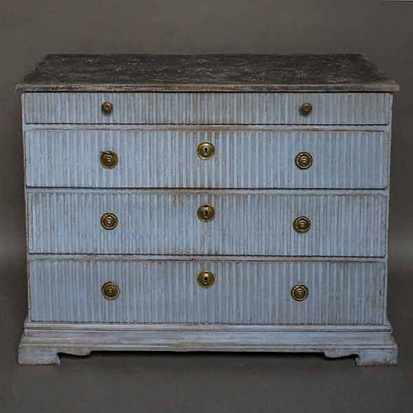 Period Gustavian chest of drawers in blue paint