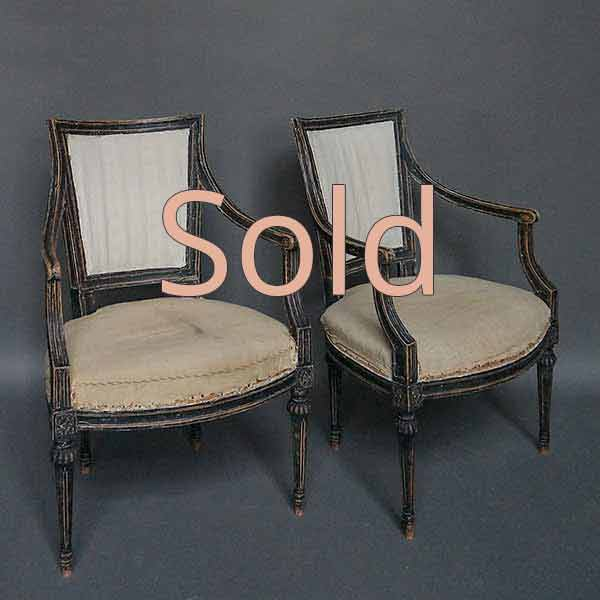 Pair of Ebonized Neoclassical Style Armchairs