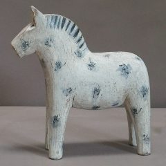 White Dala Horse with Blue-Gray Decoration