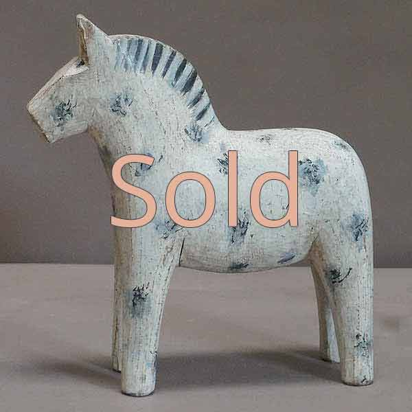 White Dala Horse with Gray Spots
