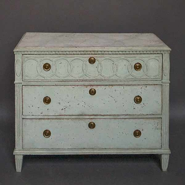 Pale green Swedish chest of drawers