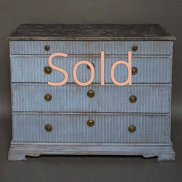 Period Gustavian Chest of Drawers in Worn Blue Paint