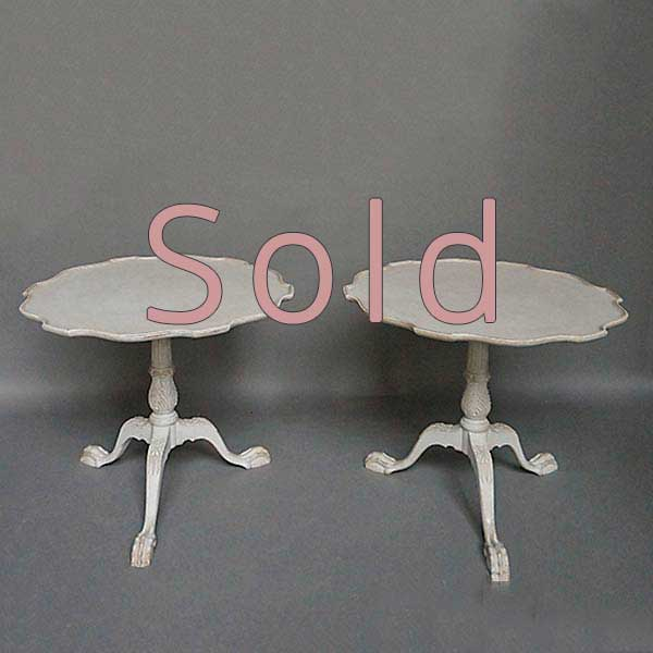 Pair of Pedestal Tables with Pie Crust Tops