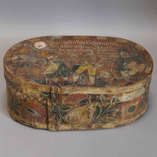 Antique German Brides Box Dated 1756