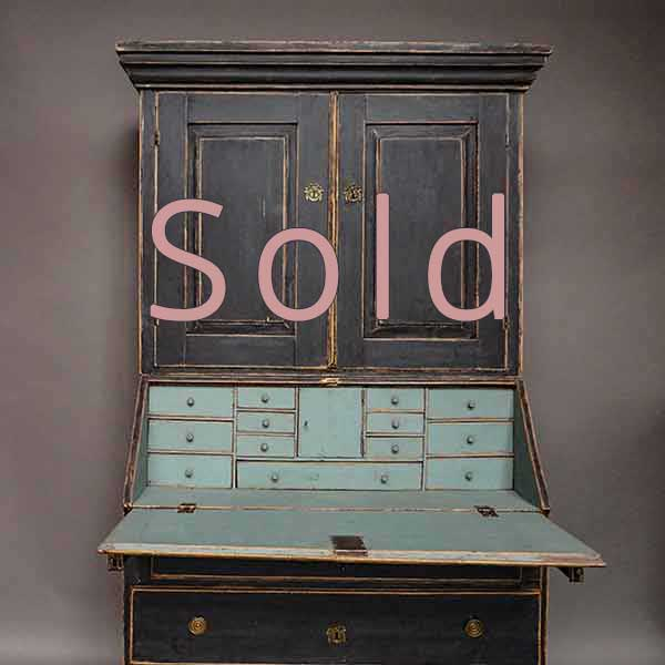 Late Gustavian Secretary in Black Paint