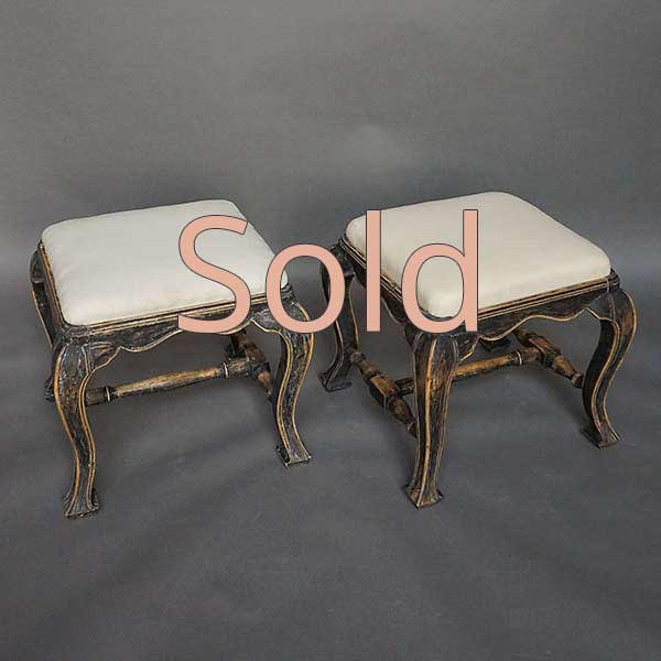 Pair of Antique Swedish Baroque Style Stools