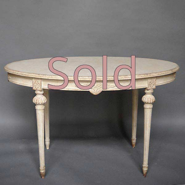Gustavian Style Table with Floral Carving