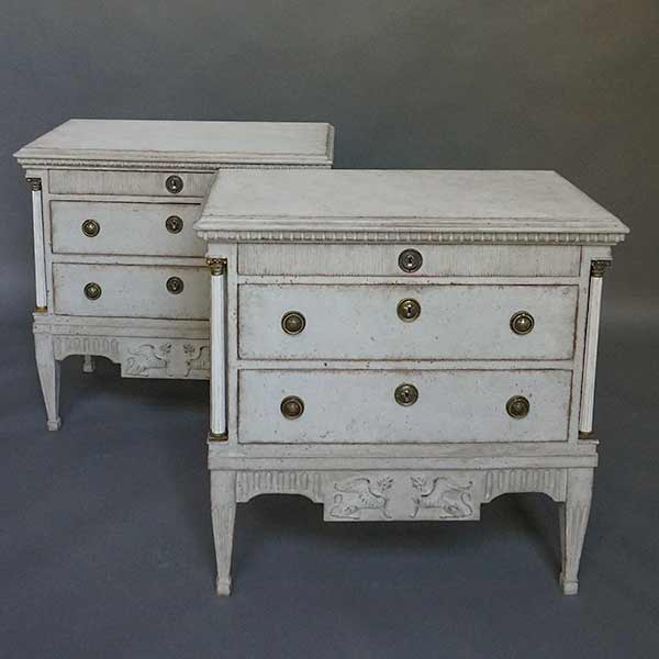 Pair of Neoclassical Commodes with Hellenic Spinxes
