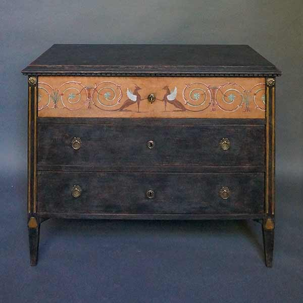 Period black Swedish neoclassical chest of drawers