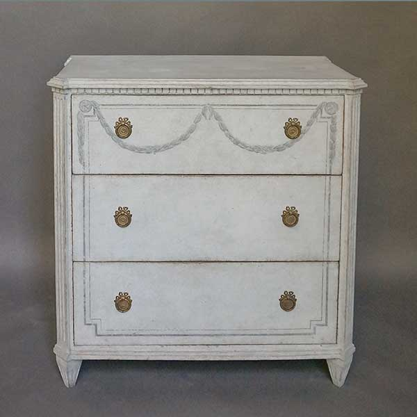 Gustavian Style Chest of Drawers with Painted Swags