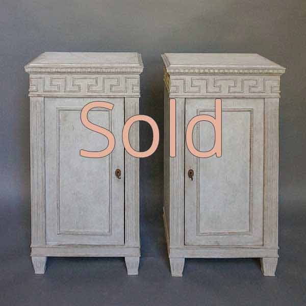 Pair of Neoclassical Style Bedside Cabinets