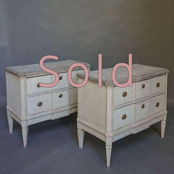 Pair of Gustavian Style Two Drawer Chests