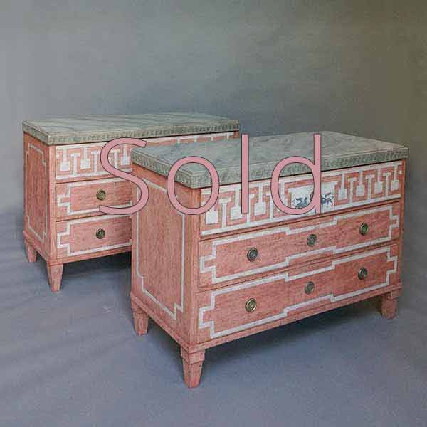 Pair of Neoclassical Chests of Drawers with Decorative Paint