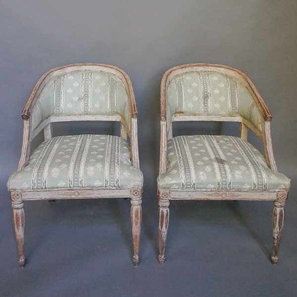 Pair of Swedish Barrel Back Chairs