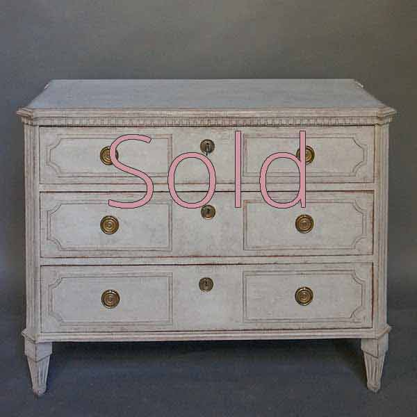 Nicely Carved Gustavian Style Chest of Drawers
