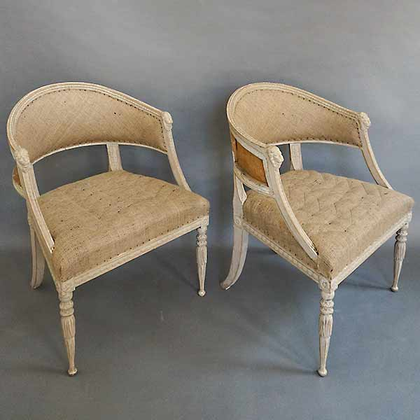 Pair of Neoclassical Style Barrel Back Armchairs