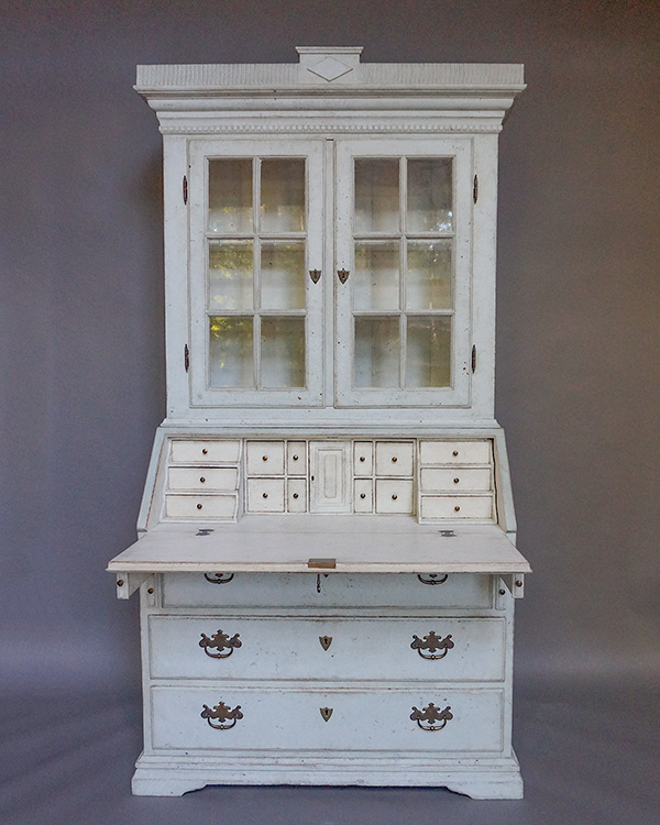 Neoclassical Secretary with Glazed Library