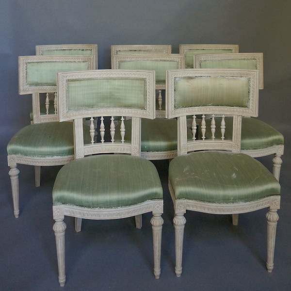Set of 8 Dining Chairs with Neoclassical Elements