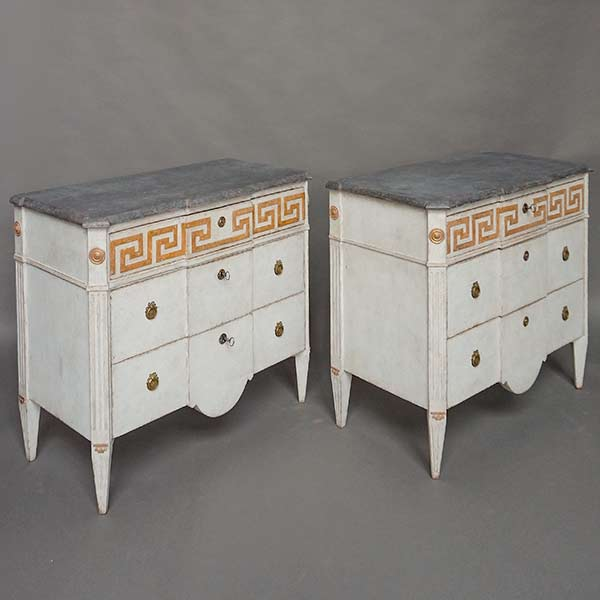 Pair of Neoclassical Commodes with Greek Key Detail