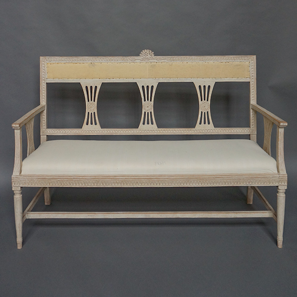 Gustavian Style Settee with Floral Crest