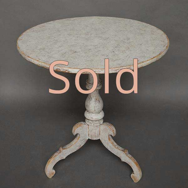 Swedish Pedestal Table in Worn White Paint