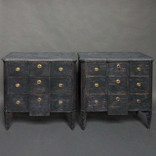 Pair of Swedish Block Front Chests