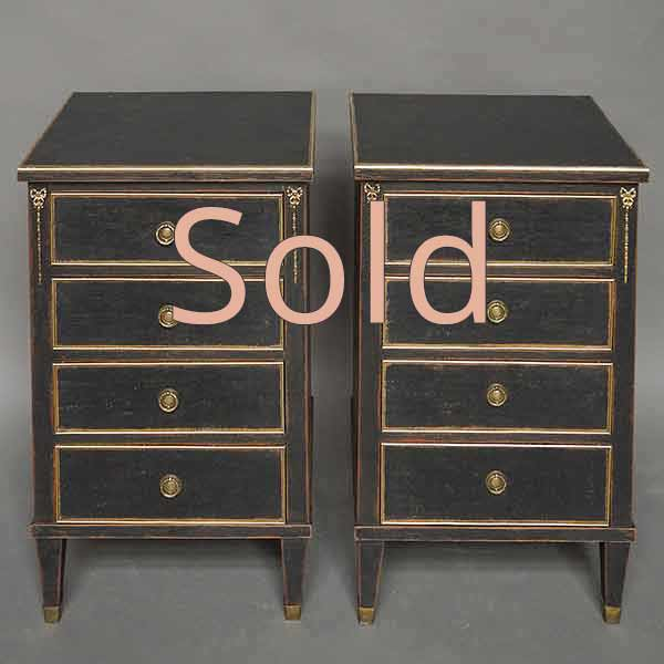 Pair of Commodes with Brass Fittings