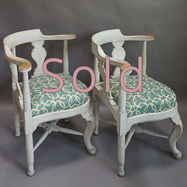 Pair of Swedish Corner Chairs