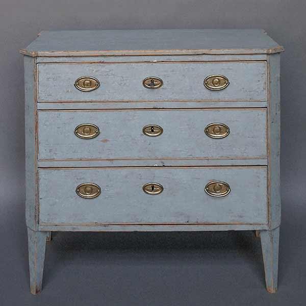 Swedish blue three drawer chest
