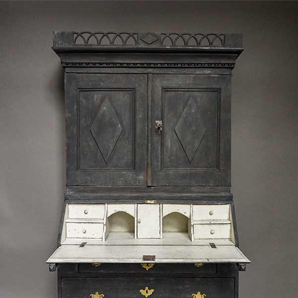 Period Swedish Secretary with Pierced Cornice