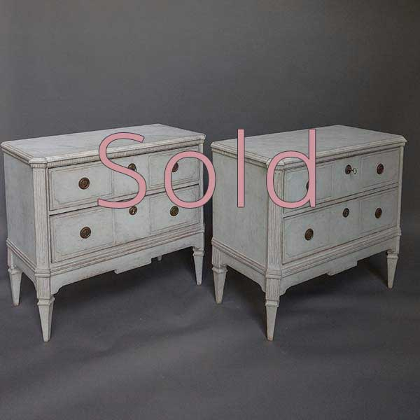 Pair of Swedish Two Drawer Commodes