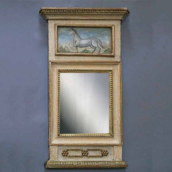 Swedish parcel-gilt mirror with painted horse