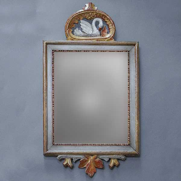 Swedish Mirror with Carved Swan