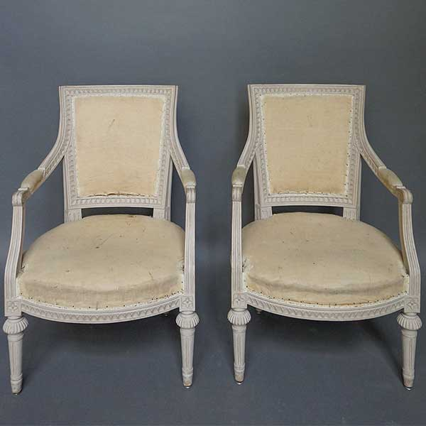 Pair of Square-Backed Gustavian Style Armchairs