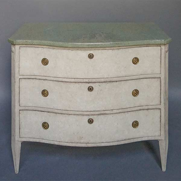 Swedish Bow Front Chest of Drawers with Marble Top