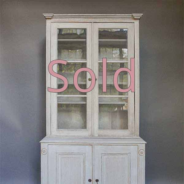 Gustavian Style Glazed Cabinet / Library